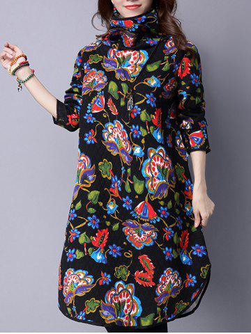 Fancy Turtle Neck Vintage Printed Midi Dress BLACK M