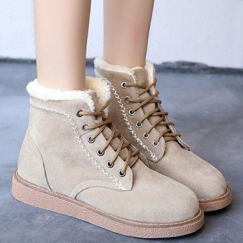 New Lace-Up Criss-Cross Suede Snow Boots APRICOT 39