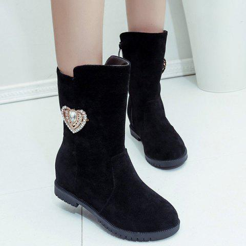 Fashion Heart Rhinestone Hidden Wedge Mid-Calf Boots