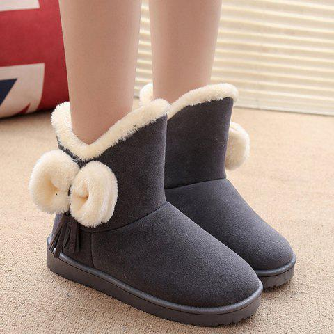 Affordable Tassel Bow Flock Snow Boots GRAY 40