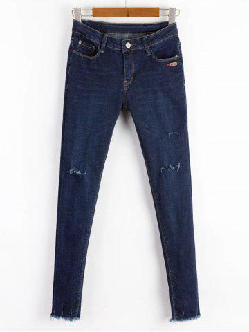 Store Ripped Bleach Wash Stretchy Jeans