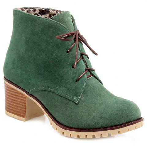 Cheap Lace-Up Chunky Heel Suede Ankle Boots