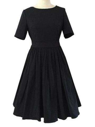 Cheap Crew Neck Ruched Full  Dress BLACK 2XL