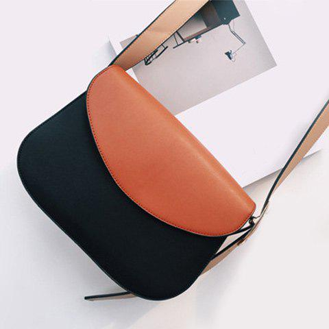 Hot Concise PU Leather Color Block Crossbody Bag
