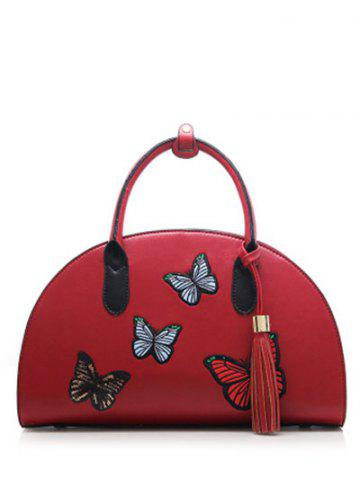 Butterfly Embroidered Tassel PU Leather Handbag - WINE RED