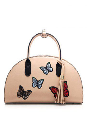 Outfit Butterfly Embroidered Tassel PU Leather Handbag APRICOT