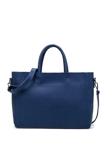 Online Concise Stitching Textured PU Leather Tote BLUE
