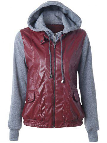 Latest Zippered Faux Leather Insert Jacket