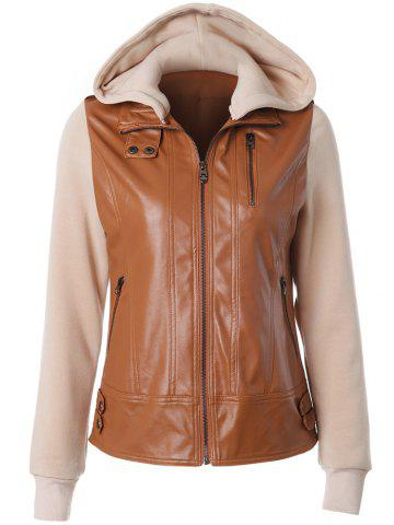 Latest Zipper Embellished Faux Leather Insert Jacket CAMEL 2XL