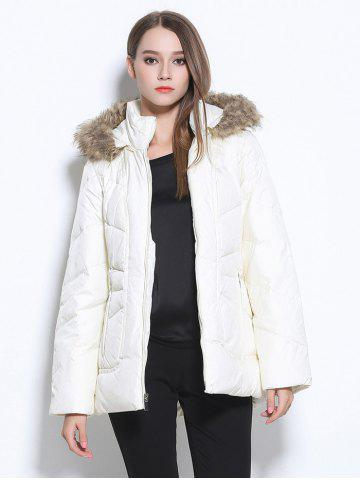 Fancy Faux Fur Hooded Pocket Design Coat WHITE XL
