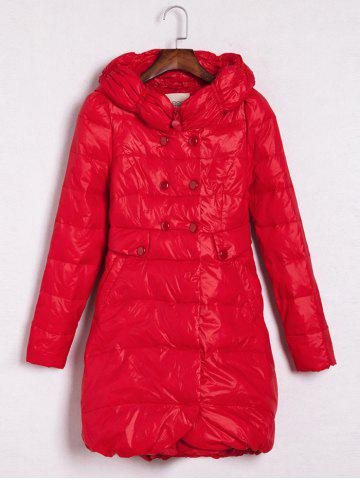 Best Hooded Double-Breasted Coat RED L