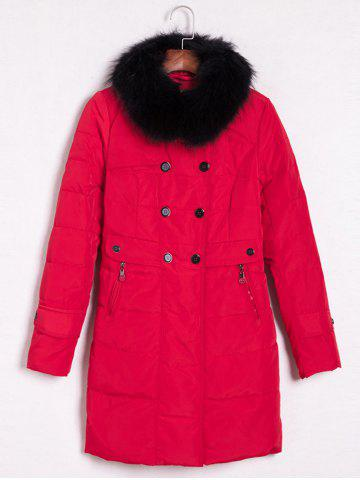 Faux Fur Embellished Double-Breasted Coat - Red - Xl