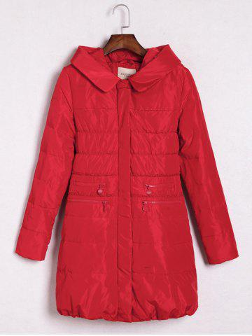 Chic Hooded Printed Zipper Embellished Coat RED L