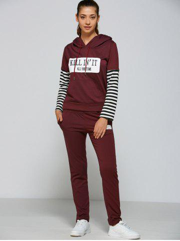Outfits Active Striped Sleeve Hoodie+Pants - XL PURPLISH RED Mobile