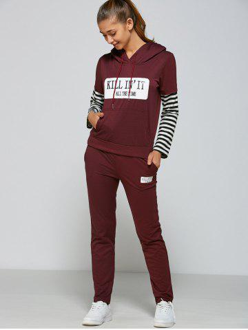 Best Active Striped Sleeve Hoodie+Pants - L PURPLISH RED Mobile
