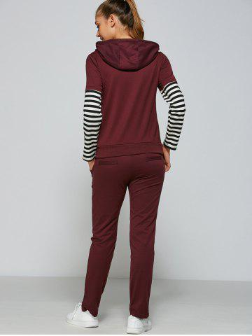 Outfit Active Striped Sleeve Hoodie+Pants - L PURPLISH RED Mobile
