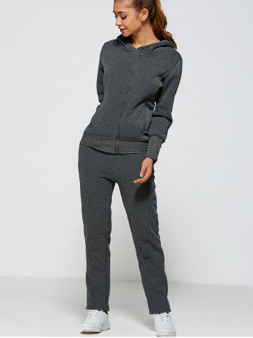 Outfit Active Zipper Up Hoodie+Pants - 2XL DEEP GRAY Mobile