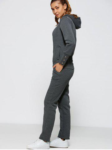 Cheap Active Zipper Up Hoodie+Pants DEEP GRAY 2XL