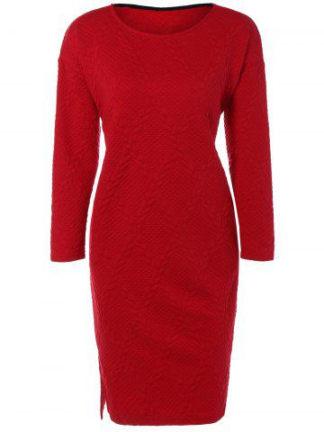 Cheap Christmas Cable Knit Plaid Jacquard Dress RED ONE SIZE