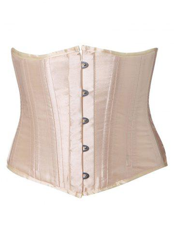 Trendy Lace-Up Buckle Corset - M APRICOT Mobile
