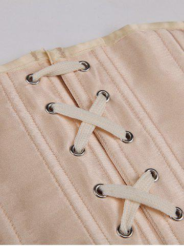 Affordable Lace-Up Buckle Corset - M APRICOT Mobile