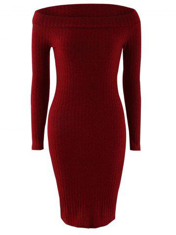 Chic Off Shoulder Long Sleeve Skinny Knit Dress - XL WINE RED Mobile