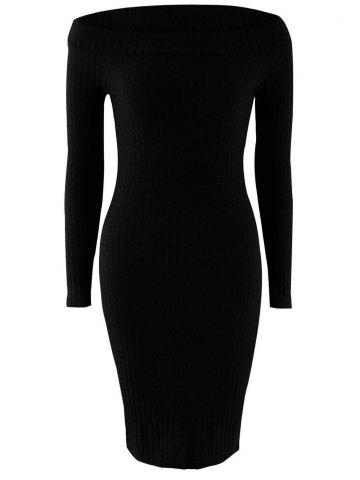 Off Shoulder Long Sleeve Skinny Knit Dress - Black - M