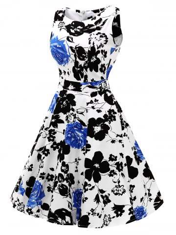 Buy Sleeveless Flower Print Flare Dress - L BLUE Mobile