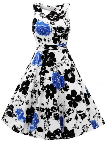 Trendy Sleeveless Flower Print Flare Dress - L BLUE Mobile