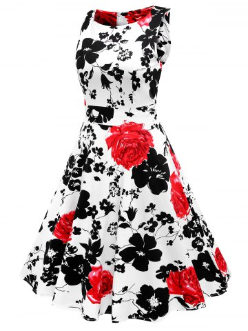 Fashion Sleeveless Flower Print Flare Dress - S RED Mobile