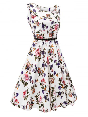 Discount Sleeveless Flower Print Belted Flare Dress - 2XL COLORMIX Mobile
