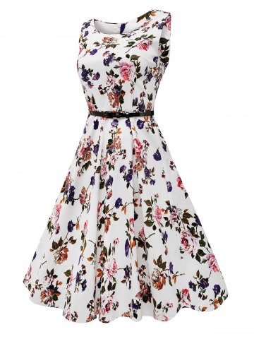 Best Sleeveless Flower Print Belted Flare Dress - 2XL COLORMIX Mobile