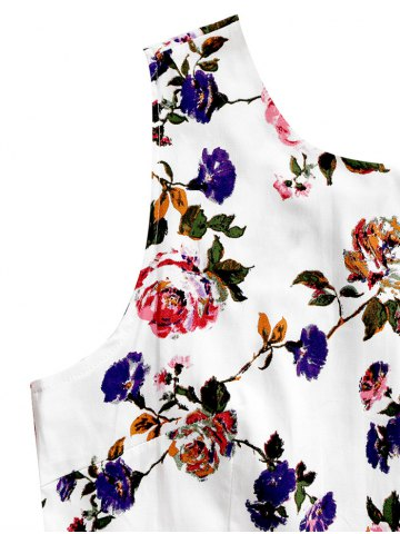 Fancy Sleeveless Flower Print Belted Flare Dress - 2XL COLORMIX Mobile