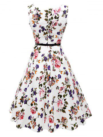 Outfits Sleeveless Flower Print Belted Flare Dress - 2XL COLORMIX Mobile