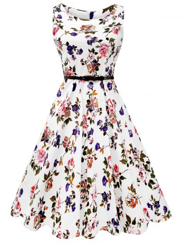 Best Sleeveless Flower Print Belted Flare Dress - XL COLORMIX Mobile