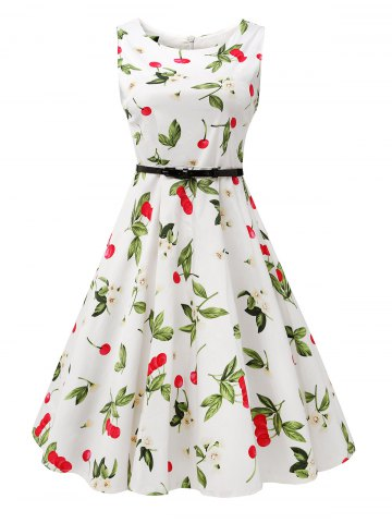 Online Sleeveless Cherry Print Belted Flare Dress - L COLORMIX Mobile