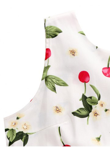 Store Sleeveless Cherry Print Belted Flare Dress - L COLORMIX Mobile