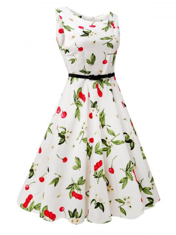 Latest Sleeveless Cherry Print Belted Flare Dress - L COLORMIX Mobile