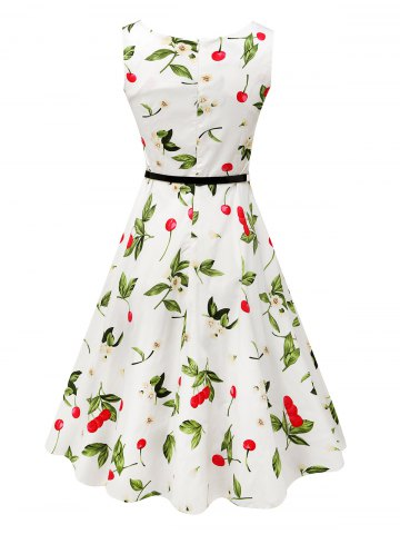 Fancy Sleeveless Cherry Print Belted Flare Dress - L COLORMIX Mobile