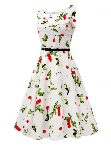 Outfits Sleeveless Cherry Print Belted Flare Dress - L COLORMIX Mobile