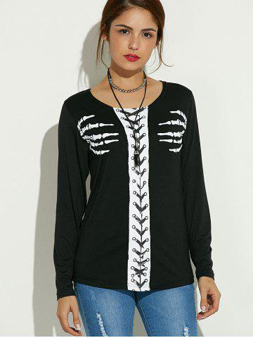 Shop Long Sleeve Skeleton Print Halloween T-Shirt - S BLACK Mobile
