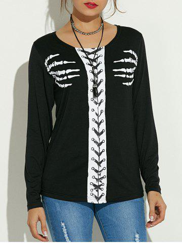 Store Long Sleeve Skeleton Print Halloween T-Shirt - S BLACK Mobile