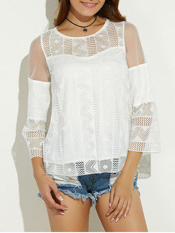 Shop Sheer Spliced Hollow Out Blouse - XL WHITE Mobile