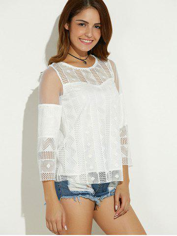 Affordable Sheer Spliced Hollow Out Blouse - M WHITE Mobile