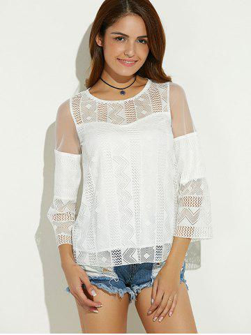 Shops Sheer Spliced Hollow Out Blouse - M WHITE Mobile