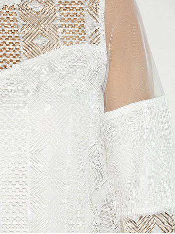 Trendy Sheer Spliced Hollow Out Blouse - M WHITE Mobile