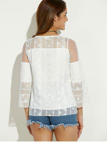 Fancy Sheer Spliced Hollow Out Blouse - M WHITE Mobile