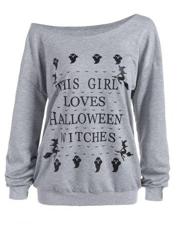 Buy Skew Neck Letter Ghost Print Halloween Pullover Sweatshirt - L GRAY Mobile