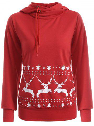 Latest Elk Print Christmas Pullover Hoodie - XL RED Mobile