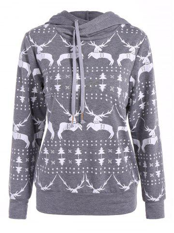 Buy Long Sleeve Elk Print Christmas Pullover Hoodie GRAY XL